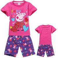 New 2014 peppa pig clothing set for boys girls, summer T shirt+shorts, 100% cotton, Wu Children Clothing Free Shipping