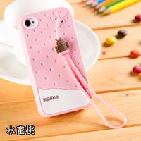Ihones 4s pone4 silica gel mobile phone soft case ipones 4s lanyard shell p 4 cartoon ip 4s female i 4 s