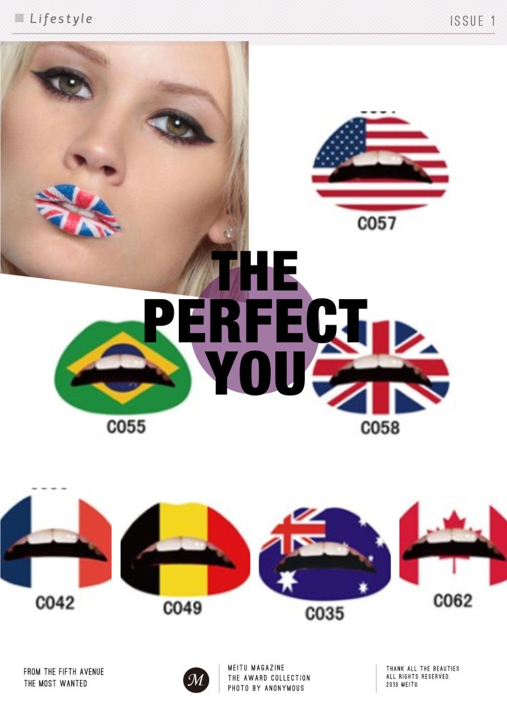 $1 New designs makeup tools lips tattoo stickers lipstick gloss national flags Australia France Germany Brazil America UK Canada(China (Mainland))