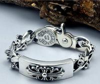 100% Real Pure 925 Silver men jewelry Wholesale Genuine Men bracelet safe Bracelet.free shipping men fine jewelry HYB06