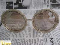 Free Shipping Sunglasses2014 Designer Sunglasses Brand Orbit Filigree Gold Glitter  Mirror Lens  With Original Box