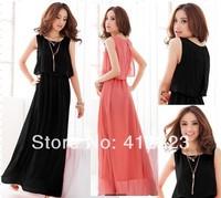 2014 summer lady women casual dresses  female Fashion sleeveless girls party Dress Women's Clothing