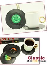 6Pieces/Set Spinning Retro Vinyl Record Drinks Coasters / Vinyl Coaster Cup Mat(China (Mainland))