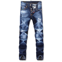 Free shipping spring 2014 new style Europe and America Slim waist hole washed denim cotton jeans pants for mens trousers