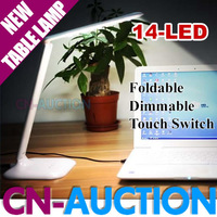 FREE SHIPPING! Foldable Desktop Lamp Touch Switch Dimmable 4W 14 LED Table Lamp Work/Study/Reading (CN-T9)