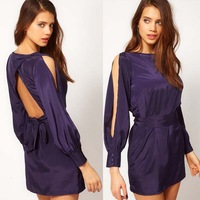 2014 New Noble blue satin fabric long-sleeve racerback lacing the waist one-piece dress 132513763 free shipping xs to xxl