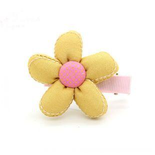 Children's Cotton Button Sunflower Hair Clip(China (Mainland))