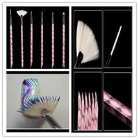 Hot 6pcs/set nails & tools nail art  painting brushes kolinsky acrylic nail kit professional art manicure brush set dropshipping