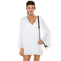 New brand Women's white chiffon shirt dress lolita v-neck elegant double layer XS,S,M,L,XL,XXLsummer women clothing