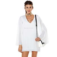 New brand Women's white chiffon shirt dress lolita v-neck elegant double layer XS,S,M,L,XL,XXLsummer women clothing