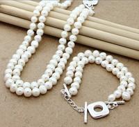 T293 Christmas Jewelry Sets,high quality 3 three long beads Man,Women charms 925silver jewelry sets,wholesale fashion jewe