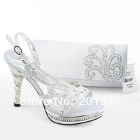 SHOEZY Italian Womens Silver Slingback High Heels Platform sandals Pumps With Matching Bags for Wedding Party Rhinestones Shoes