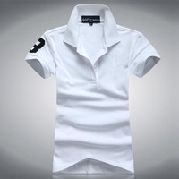 Women's leisure pure cotton Lapel t-shirts with short sleeves Malaysia embroidered logo