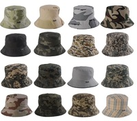 Camouflage and Checker Bucket Safari Fisherman Hat Fishing Cap Many Colors