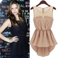 The new summer fashion sleeveless dress evening dress dovetail Lace Dress sub-Slim Y0020
