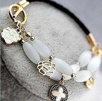 Korean jewelry natural opal gem moonlight clover multilayer shells vintage rose flower leather chain bracelet 0215