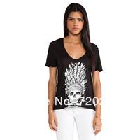 Skull pattern print black V-neck female short-sleeve t-shirt haoduoyi