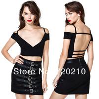 Vampish richcoco fashion sexy racerback V-neck short design small vest bare midriff small vest d363