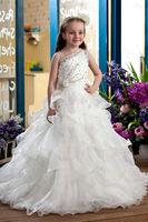 Elegant Ball Gown Floor Length Tiered and Beaded White Flower Girl Dress