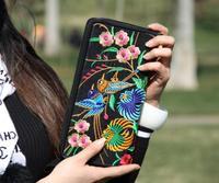 Chinese style handbag purse double faced embroidered handbag purse double zipper wallet handbag coin purse