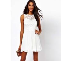 Women's white lace decorative pattern pleated slim one-piece dress skirt fashion women chiffon clothes ladies dresses