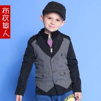 Children's clothing 2014 male child faux two piece vest child suit blazer jacket