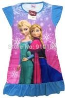 4pcs/lot baby girls pajamas cartoon Frozen Anna Elsa summer pyjamas Children nightgown/kids sleepwears dress