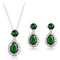 Fashion women jewelry set green/blue AAA zircon 18k real platinum copper alloy water drop/pear necklaces/earrings WL00663