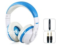 MQ55 3.5mm Plug On-ear Stereo Headphones with Microphone & 1.2 m Cable(blue)