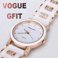 2014 Fashion Ladies Dress Luxury Gold Quartz Wrist Watch Diamond Hour marks Rubber Steel Watchband for Women Wristwatch
