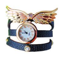 Hot Sales Angel Decorative Wings Bracelet Watch Fashion Eagle Wing Rhinestone Studded Long Leather Women  Quartz Watches