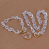 S003 925 silver jewelry set,classic style,fashion jewelry,Nickle free women,chains Heart Three-Piece Jewelry Sets women,chains