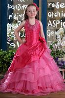 Halter Floor Length Sequins and Flower Little Flower Girl Dress