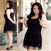 2014 New Ladies Women Cute Black Plus Size Big Size Spaghetti Strap Mesh Tassel Hem Spring Summer Casual Dresss Vestido XXL XXXL