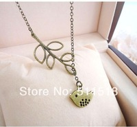 Hot Sale Branches bird necklace Pendant Jewelry Gift personality leaves leaf Jewelry for Gift