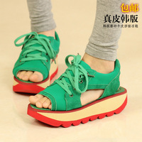 Promotino! 2014 Candy color block platform swing shoes open toe casual sandals women genuine leather single shoes wedges