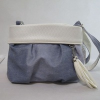 Sweet fresh 2014 small gentlewomen denim PU one shoulder cross-body small bags tassel female