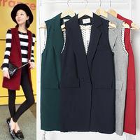 Female Spring and autumn long design vest suit  fashion medium-long loose sleeveless