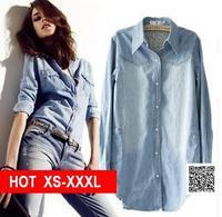 Large size XS-XXXL clothing 2014 women's denim shirt female long design loose long-sleeve slim shirt plus size outerwear