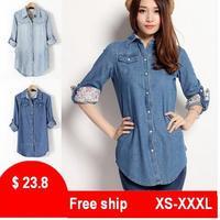 2014 female shirt denim shirt ladies long-sleeve plus size loose camisa jeans casual polo shirts women roupas femininas