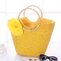 Fashion flower straw bag rustic women's handbag sweet gentlewomen handbag woven bag beach bag wood to rattan bag