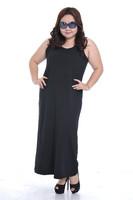 2014 New Ladies Women Black Plus Size Big Size Spring Summer Casual Cotton Bohemian Maxi Long Dresss Vestido XXL XXXL