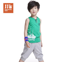 New 2014 boys summer set childen summer set child vest shorts set big boy casual sport wear free shipping Free shipping