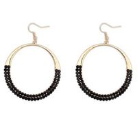 Free Shipping!  #105829 Big Hoop Black Rhinestones Earrings For Women Casual Party Jewelry