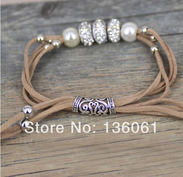 2pcs Fashion Jewelry Vintage Silvers Rhinestone Beads 4-Strand Brown Velvet Rope With Pearl Wrap Bracelets &Bangle P1955(China (Mainland))
