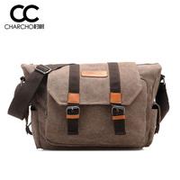 Canvas Leather Handbag Men Business Casual Large Size Men Boys Classical Shoulder Cross Body Bag Durable Strap Dark Khaki 051808