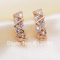 Hot sell 18K earrings fashion crystal ear cuff  charms ear clips earring personality Korean 2015 hot earring for women LM-C363