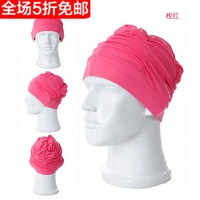 Pleated solid color swim cap women's ear swimming cap lyrate hat