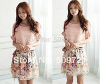 High Quality! 2014 vestidos New Women's Summer Dress Charming Crewneck Chiffon Short Sleeve Floral Casual Dress