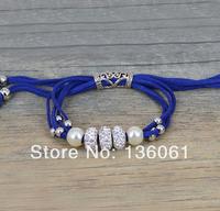 2pcs Wholesale Fashion Jewelry Vintage Silvers Rhinestone Beads 4-Strand Blue Velvet Rope&Pearl Wrap  Bracelets &Bangl P1957